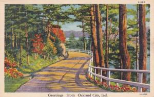 Indiana Greetings From Oakland City 1942 Curteich