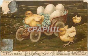 Old Postcard Happy Easter Chicks Eggs