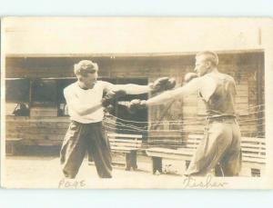 rppc 1920's Sports MEN HAVING A BOXING MATCH AC8900