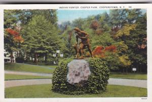 New York Cooperstown Cooper Park Indian Hunter Statue Curteich