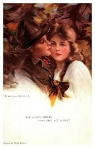 Boy Scouts Motto -One Kind Act , Boy Scout Kissing Beautiful Girl