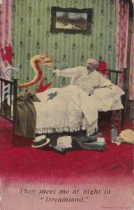 Bamforth Humour Man In Bed With Devil They Meet Me At Night In Dreamland 1914