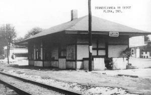 Flora Indiana Pennsylvania Railroad Depot Real Photo Vintage Postcard K103772