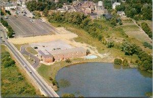 Vtg 1950s Dover Hotel Overlooking the Lake Aerial View Delaware DE Postcard
