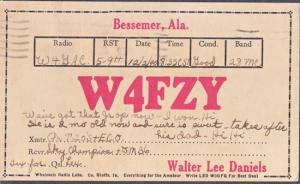 Bessemer AL - W4FZY QSL card operated by Walter Lee Daniels 1940s
