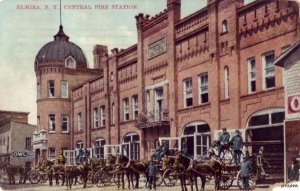 ELMIRA, NY CENTRAL FIRE STATION HORSE-DRAWN WAGONS FIRE EQUIPMENT 1911