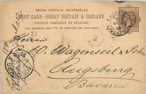 Entier Postal Stationery Postal Britain Great Britain in 1891 Liverpool to Au...