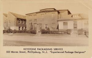 Phillipsburg NJ~Keystone Packaging Service~Designers~Warren Street~1930s RPPC