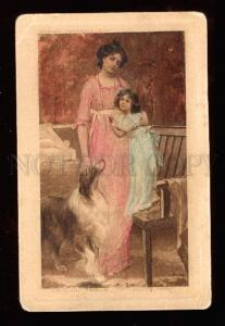 025386 Mom & Girl w/ COLLIE by KENDRICK vintage PC
