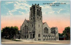 Newark, Ohio Postcard First Methodist Episcopal Church Street View c1910s
