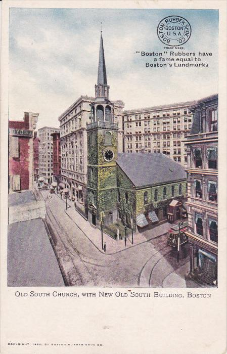 Old South Church, With New Old South Building, BOSTON, Massachusetts, 1906
