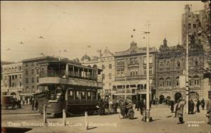 Johannesburg South Africa Tram Terminal Street Scene c1920 Real Photo Postcard