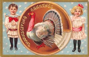 Victorian Thanksgiving~Children w/ Exaggerated Pumpkin Pie Plate~Turkey~Gold Emb