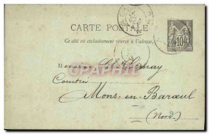 Entier Postal type Sage 10c 1893 Mr Leray Mons Barouel