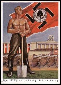 3rd Reich Reichsparteitag 1938 Reichsarbetdienst RAD Man Propaganda Card F 96253