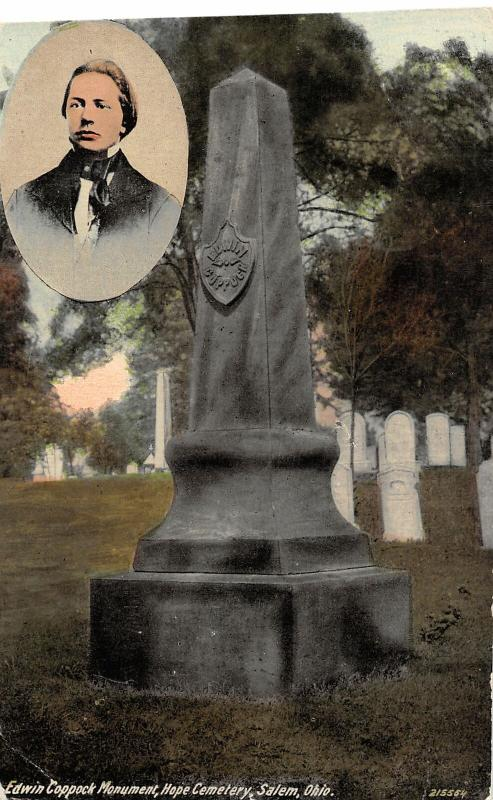 F28/ Salem Ohio Postcard c1910 Edwin Coppock Monument Hope