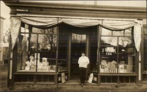 205 Newbury St. Store Shop Keeper c1910 Real Photo Postcard BOSTON on Back