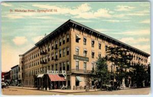 SPRINGFIELD, Illinois  IL    ST. NICHOLAS HOTEL  Street Scene  ca 1910s Postcard