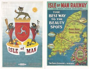 Isle Of Man British Railways 2x Train Poster Advert Postcard s
