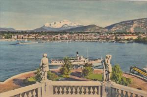 Switzerland Geneve La Rade et le Mont-Blanc
