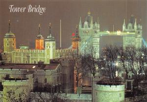 Postcard, Tower Bridge & Tower of London at Night, England, UK, Travel E38