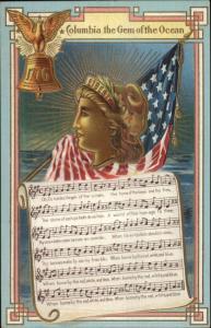 Columbia Ship Sinking Sheet Music Lady Libery American Flag Eagle Postcard