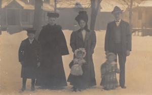 Lavern Underwood Drake-Elizabeth/Oscar Ringsworth Family in Snow~Ladd RPPC c1910