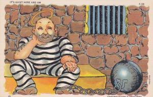 Prison Humour Man Sitting In Jail Cell It's Quiet Here Curteich