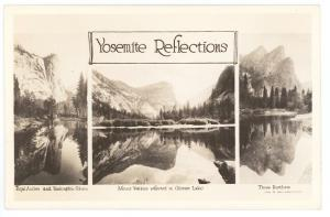 Yosemite Reflections Three Views  RPPC Real Photo Postcard