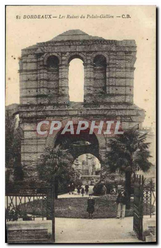 Vintage Postcard Bordeaux Ruins of the Gallien Palate