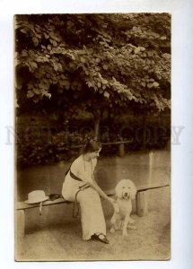 243375 Russia BELLE Lady w/ White POODLE Vintage REAL PHOTO