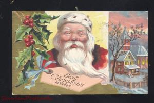 BEST CHRISTMAS WISHES SANTA CLAUS ANTIQUE VINTAGE POSTCARD