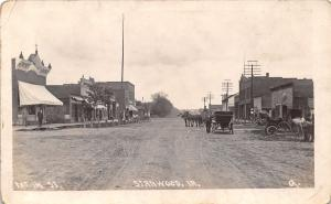 Stanwood Iowa~Main Street~The Boys Store~Barber Shop Pole~Horse Wagons~1908 RPPC