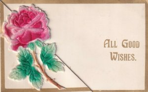ALL GOOD WISHES, 1900-10s; Bi-fold, Applique Red Rose
