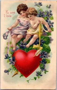 To One I Love, Cherubs with Heart Arrow c1908 Vintage Postcard Y10