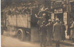 RP: BERLIN, Germany , 1919 ; Street Strikers in truck