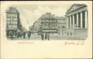 belgium, BRUSSELS BRUXELLES, Boulevard Ansbach, TRAM (1905) Embossed