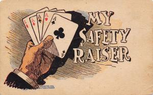 Comic Pun~My Safety Raiser Razor~Poker Hand~4 Aces~Playing Cards~J Tully 1906