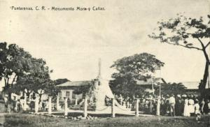 Costa Rica, PUNTARENAS, C.R., Monumento Mora y Cañas (1910s) Postcard