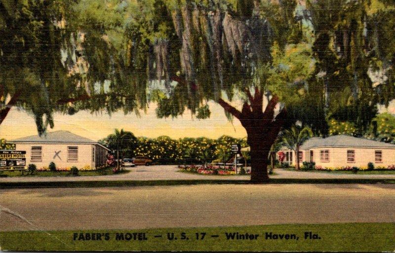 Florida Winter Haven Faber's Motel U S 17 1952 Curteich