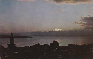 Puget Sound Lighthouse at Twilight, Seattle Washington 1940-60s