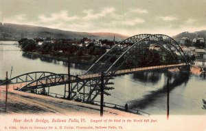 New Arch Bridge, Bellows Falls, Vermont, early postcard, undivided back, unused