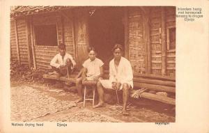 Djocja Java Natives Drying Food Antique Postcard J45353