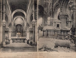 Albert Somme Great Altar Of The Basilica Large Folding WW1 Postcard
