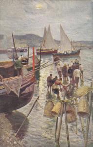 AS, Sailboats, Tramonto, NAPOLI (Campania), Italy, 1900-1910s