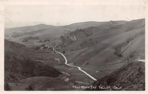 E58/ Half Moon Bay Valley California Postcard Real Photo RPPC c20s Birdseye