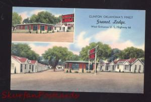 CLINTON OKLAHOMA GRANOT LODGE MOTEL OLD ADVERTISING POSTCARD ROUTE 66