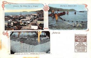 Astoria Oregon~City~Cannery Factory Interior~Fish Nets~Dever's Golden West~1905