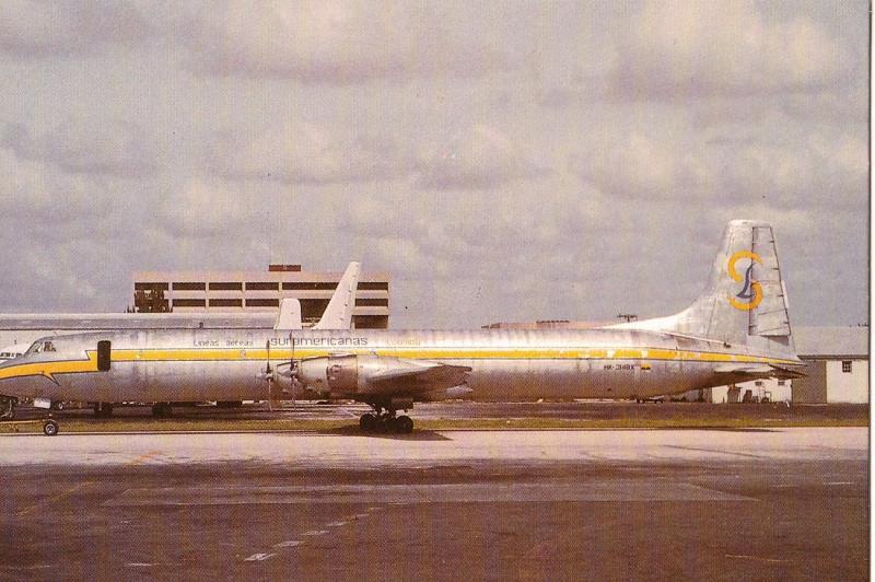 LASA , Lineas Aereas Suramericanas Colombia, CL-44D, unused Postcard