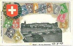 Ansichtskarten VINTAGE POSTCARD SWITZERLAND - BASEL: STAMPS ON POSTCARD - ZIEHER